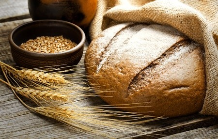 35865970 - fresh bread and wheat on the wooden