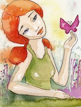 16382478 - watercolor illustration of a beautiful, delicate and sensitive girl
